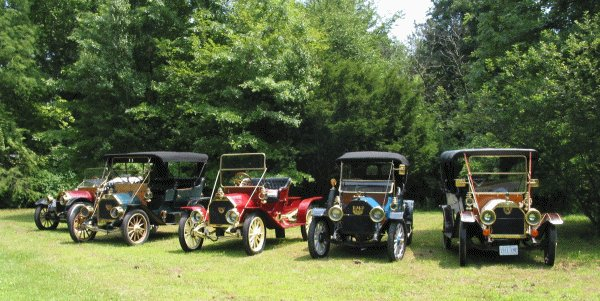 5 E-M-F's lined up during the 2004 E-M-F Company Outing Tour
