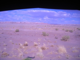 Miles and miles of barren desert terrain.